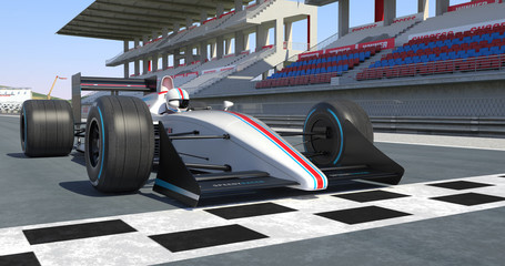 White Racing Car Getting Ready For Racing - High Quality 3D Rendering With Environment