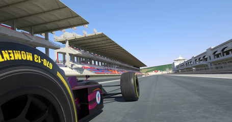 Formula Car Crossing Finish Line And Winning The Race - High Quality 3D Rendering With Environment