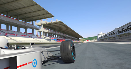 White Formula Car Crossing Finish Line And Winning The Race - High Quality 3D Rendering With Environment