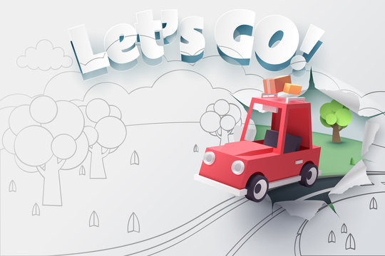 Paper art of red car jumping out from 2D sketch to be 3D paper with ripped let's go text
