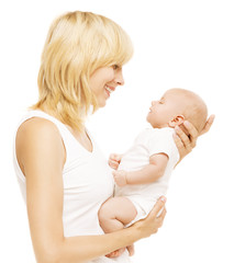 Mother and Baby Looking Face to Face, Mom Holding Newborn Kid on Hands, Woman with Infant Child Isolated over White background