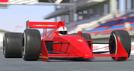 Red Racing Car Getting Ready For Racing With Depth Of Field - High Quality 3D Rendering With Environment
