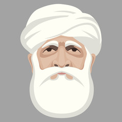 Muslim face head vector illustration  flat style