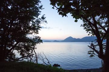 Sunset over Lake Koya in Hokkaido, Japan