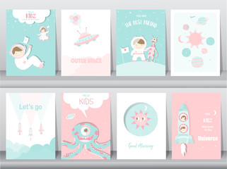 Set of cute space posters,template,cards,cute,rocket,space,education,astronaut,galaxy,star,zoo,Vector illustrations