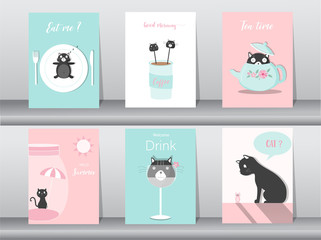 Set of cute animals poster,template,cards,cats,table ware,food,sweets, cartoons,summer,cute vectors,Vector illustrations