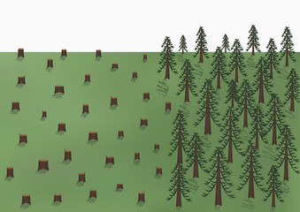 deforestation landscape, big trees and a lot of stumps, vector illustration horizontal