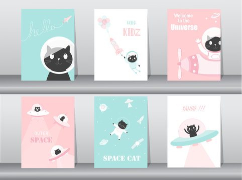 Set of cute animals poster,template,cards,cats,cute,rocket,space,education,astronaut,galaxy,star,zoo,Vector illustrations