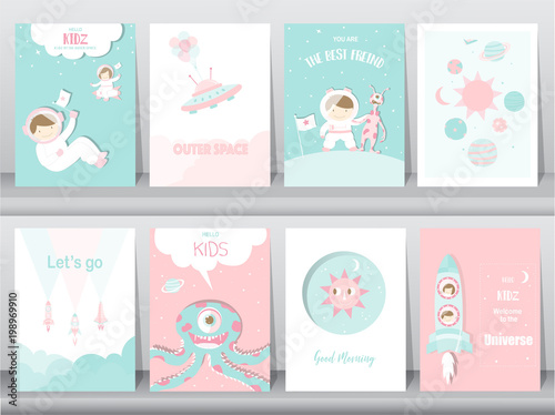 set of cute space posters template cards cute rocket space education