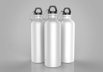 Aluminium Shiny sipper bottle for mockup and template design. 3d render illustration.