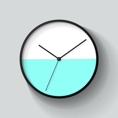 Simple wall two-color Clock in realistic style, minimalistic timer on light background. Business watch. Vector design element for you project