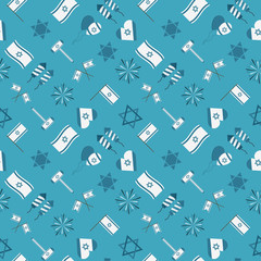 Israel Independence Day holiday flat design icons seamless pattern