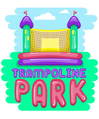 Trampoline park card with bouncy castle. Bright cartoon style. Eps 10
