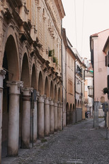 Padova, Italy - August 24, 2017: street in a center of Padova, Italy