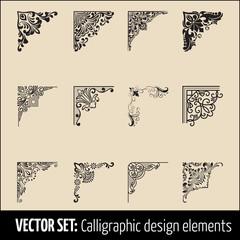 Vector set of calligraphic and page decoration corner design elements. Elegant elements for your design. Modern handwritten calligraphy elements. Vector Ink illustration