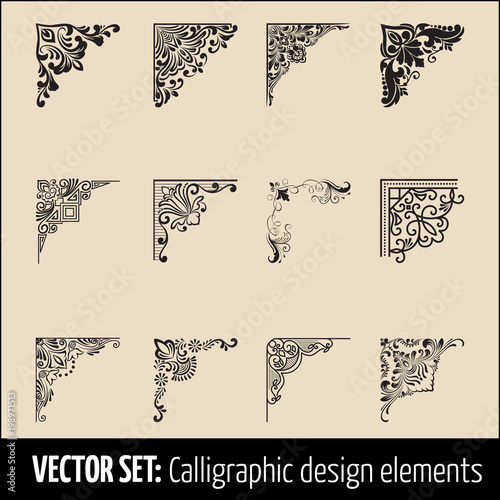 Vector set of calligraphic and page decoration corner design