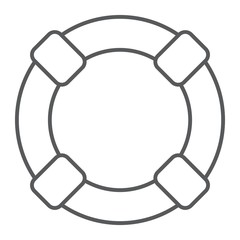 Lifebuoy thin line icon, sos and lifeguard, help sign vector graphics, a linear pattern on a white background, eps 10.