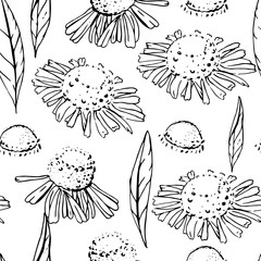 Seamless pattern with floral ornament. Endless texture for season design