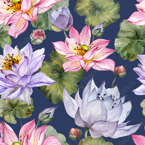 Beautiful Bright Floral Seamless Pattern Blue Lotus Flowers With