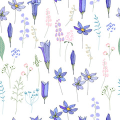 Seamless pattern with spring blue flowers. Endless texture for season easter design