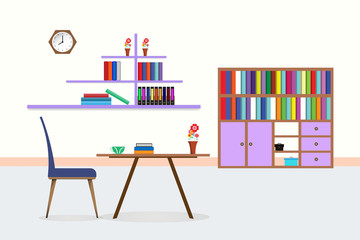 living room interior library with table chair bookcase shelf coffee cup flower vase clock. design Vector illustration with copy space add text