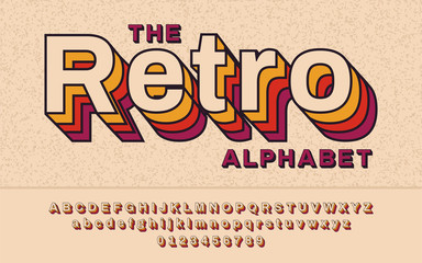 Retro Font 90's, 80's. With VHS effect, Vector abc alphabet Fototapete