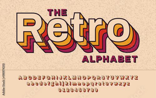 Retro Font 90's, 80's  With VHS effect, Vector abc alphabet