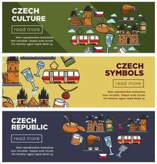Czech Republic culture and symbols Internet web banners set