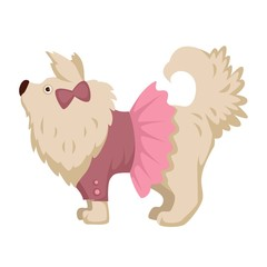 Pet dog in pink dress clothes vector cartoon icon