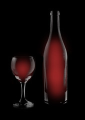 Artistic illustration of red wine on black background