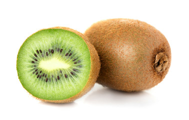 Wall Mural - one solid and one half of ripe kiwi isolated on white background