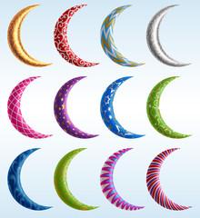 Set of Ornate Crescents