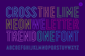 Line condensed alphabet and font. Uppercase outline letters. Type, typography letter line font. Hand-drawn modern narrow sans serif line font Cross The Lime for headline, part One. Vector Illustration