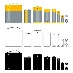 Vector Set of Battery Icons. Different Types. Various Graphic Styles.