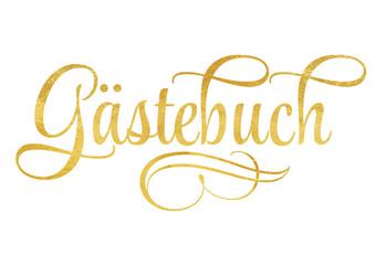 Gästebuch - Schriftzug mit Ornamenten in Gold