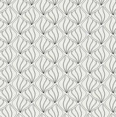 Vector Shell Abstract Seamless Pattern. Art Deco Style Background. Geometric flower texture.