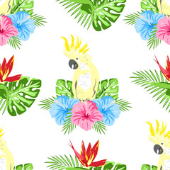 pattern with flowers and parrot