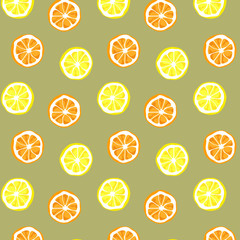 Seamless vector of orange and lemon pattern and background. Citrus vector illustration