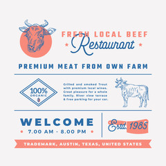 Fresh Local Beef Restaurant Signs, Titles, Inscriptions and Menu Decoration Elements Set. Premium Quality Retro Typography Layout with Hand Drawn Icons and Symbols. Vintage Cow Label Template.