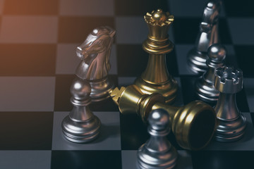 chess board game competition business concept.Strategy chess battle Intelligence challenge game on chess board.