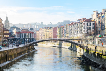 bilbao riverbank and old town views, Spain