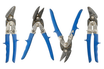old blue tin snips, right, left, open and closed, isolated on white