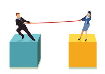 ein Paar ziehen gegeneinander am Seil, illustration