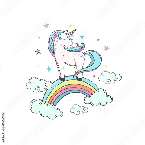 Unicorn On A Rainbow In The Clouds And Stars Vector Ilration Cute Character For