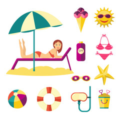 Vector flat summer holiday people symbols set. Girl in sunglasses swimsuit on lounger under sun umbrella on beach sand, ball diving mask ice cream starfish. Illustration isolated, white background