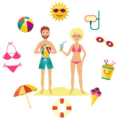 Vector flat summer holiday people and symbols set. Girl man in swimsuit, shorts on beach sand, ball sun in sunglasses, umbrella diving mask ice cream elements. Illustration isolated, white background