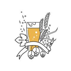 Beer glass, hops and wheat. Linear icon. Sign, symbol, emblem, label, logo for brewery, beer restaurant, pub, bar, menu, website. Vector illustration.