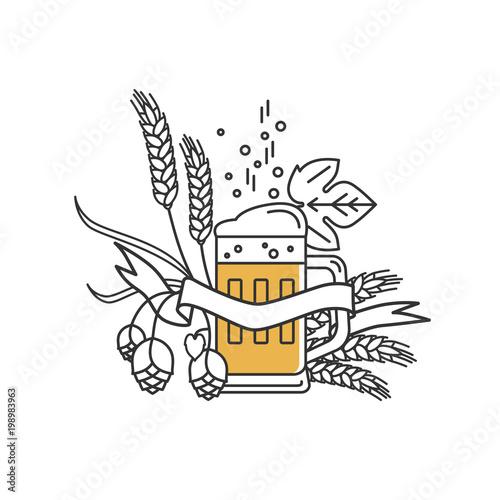 Beer Mug Hops Wheat And Ribbon Linear Icon Sign Design