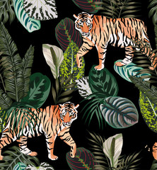 Door stickers Botanical tiger dark jungle pattern