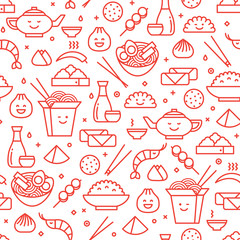 Estores personalizados con tu foto Vector outlined iconic seamless pattern of Chinese food. Traditional food of different places of China like noodles, dim sum, ramen and spring rolls.